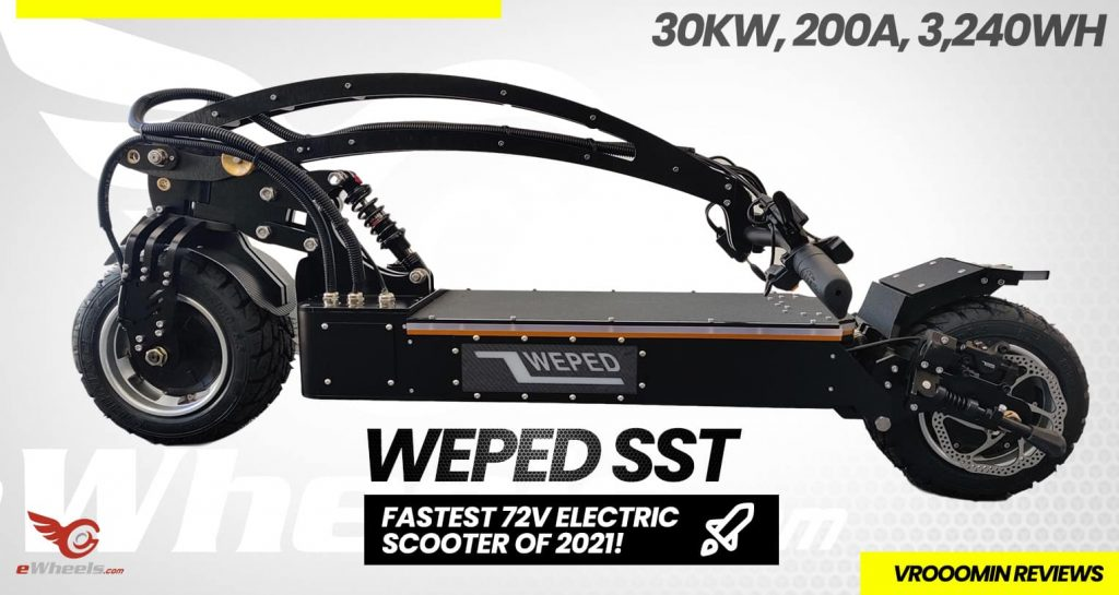 Weped SST Electric Scooter Folded View